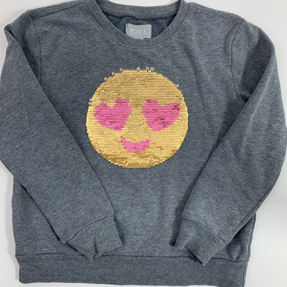 Smiley Face Flip Sequin Pullover |
